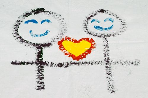 '제6회 퀴어문화축제 무지개 2005' 참가자가 그린 그림. 동성과의 사랑을 나타내고 있다. '제6회 퀴어문화축제 무지개 2005' 참가자가 그린 그림. 동성과의 사랑을 나타내고 있다.